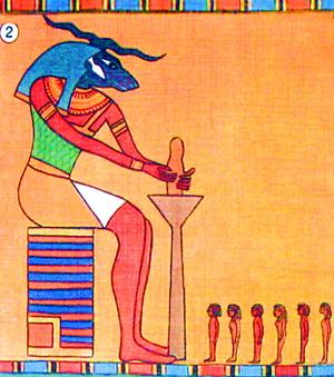 Бараноголовый бог Хнум вылепил людей на гончарном круге