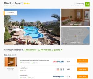 Стоимость отеля Dive Inn 4* за ночь