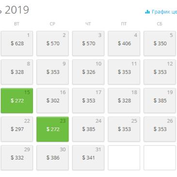 Календарь низких цен на авиабилеты на январь по направлению Москва – Шарм-эль-Шейх